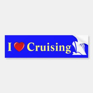 I Love Cruising Ship Icon Car Bumper Sticker
