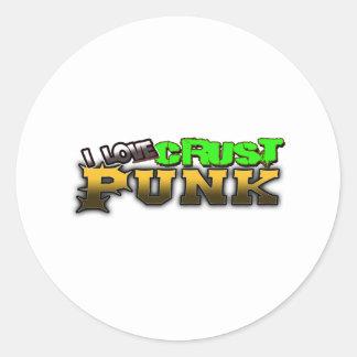 I Love Crust PUNK music Classic Round Sticker