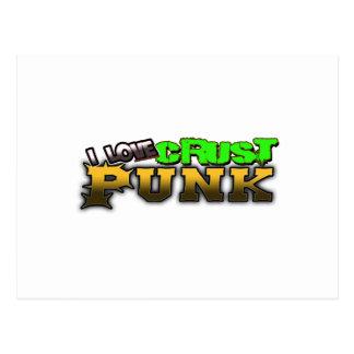 I Love Crust PUNK music Postcard