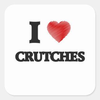 I love Crutches Square Sticker