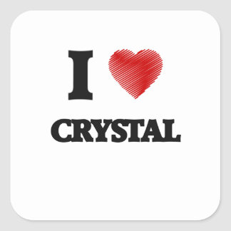 I love Crystal Square Sticker