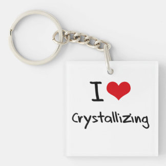 I love Crystallizing Double-Sided Square Acrylic Keychain