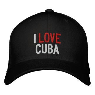 I LOVE CUBA EMBROIDERED BASEBALL HAT