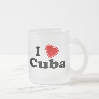 I Love Cuba Frosted Glass Coffee Mug