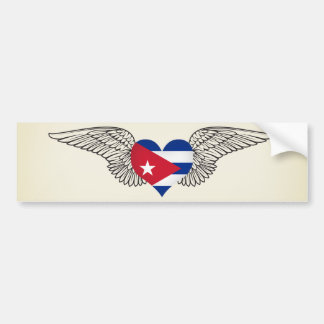 I Love Cuba -wings Bumper Sticker