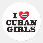 I Love  Cuban Girls Round Stickers