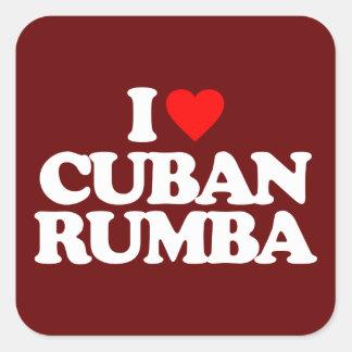 I LOVE CUBAN RUMBA SQUARE STICKER