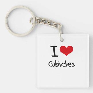 I love Cubicles Double-Sided Square Acrylic Keychain