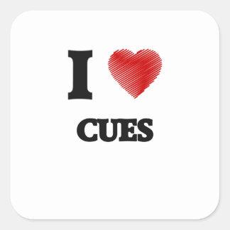 I love Cues Square Sticker