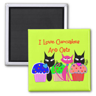 """""""I love cupcakes and cats""""--Cupcake Lovers Gifts 2 Inch Square Magnet"""
