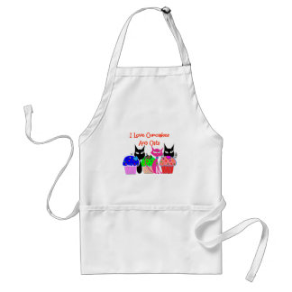 """I love cupcakes and cats""--Cupcake Lovers Gifts Adult Apron"