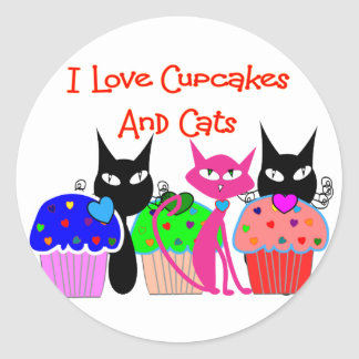 """I love cupcakes and cats""--Cupcake Lovers Gifts Classic Round Sticker"
