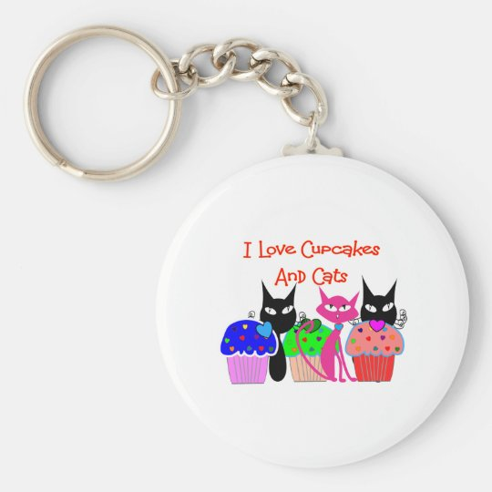 """I love cupcakes and cats""--Cupcake Lovers Gifts Keychain"