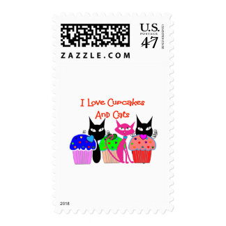 """""""I love cupcakes and cats""""--Cupcake Lovers Gifts Postage Stamp"""