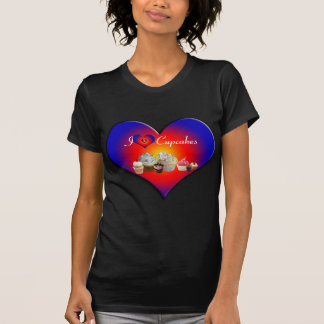 I LOVE CUPCAKES BIRTHDAY PARTY ,blue red heart T Shirt
