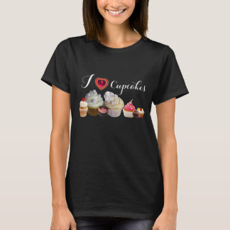 I LOVE CUPCAKES BIRTHDAY PARTY ,red pink black T-Shirt