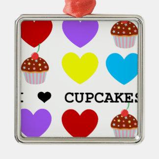i love cupcakes bright design cupcake square metal christmas ornament