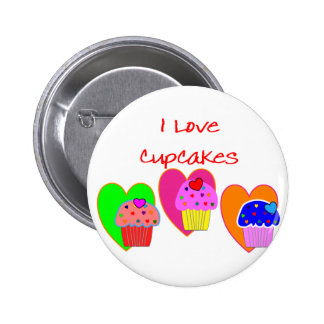 """""""I Love Cupcakes""""--Cupcake lovers gifts Button"""