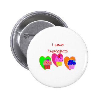 """""""I Love Cupcakes""""--Cupcake lovers gifts Pinback Button"""