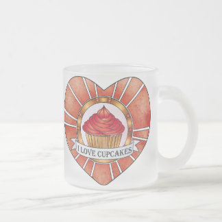 I love cupcakes frosted glass coffee mug