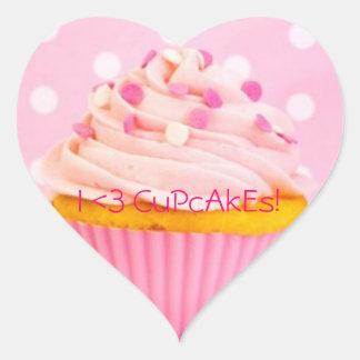 I love cupcakes heart sticker