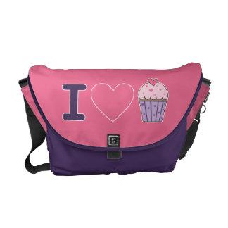 I love cupcakes hot pink/ purple mix messenger bag