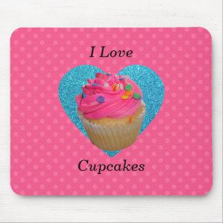 I love cupcakes pink polka dots mouse pad