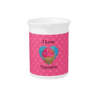 I love cupcakes pink polka dots pitcher