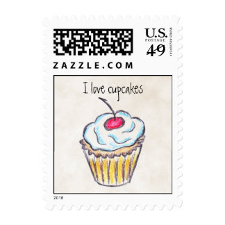 I love cupcakes postage stamps