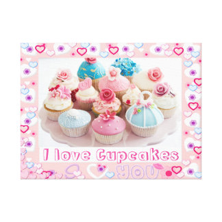 I Love Cupcakes Poster Canvas Print