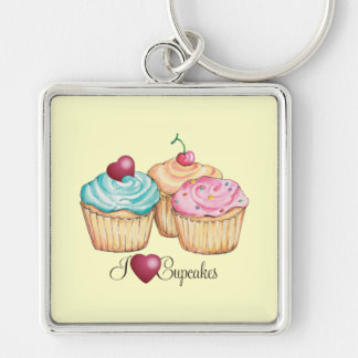 I Love Cupcakes Silver-Colored Square Keychain