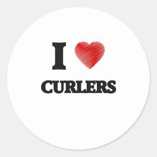 I love Curlers Classic Round Sticker