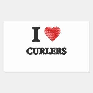 I love Curlers Rectangular Sticker