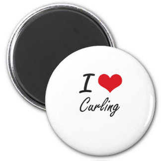 I love Curling 2 Inch Round Magnet