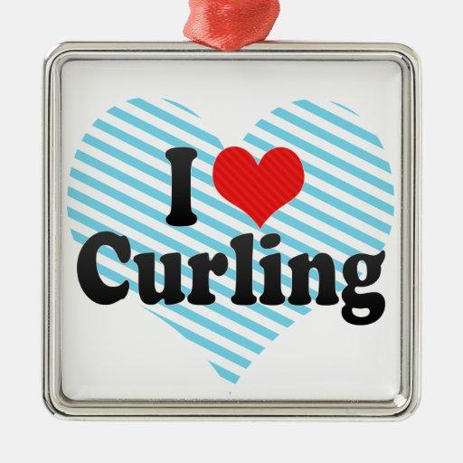 I Love Curling Christmas Ornaments