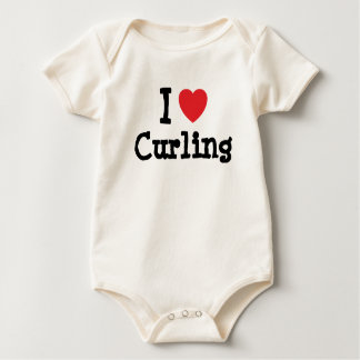 I love Curling heart custom personalized Baby Bodysuit