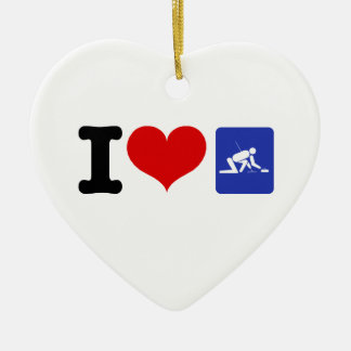 I Love Curling Double-Sided Heart Ceramic Christmas Ornament