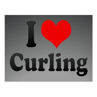 I love Curling Postcard
