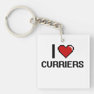 I love Curriers Single-Sided Square Acrylic Keychain