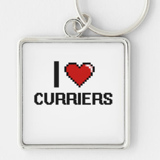 I love Curriers Silver-Colored Square Keychain