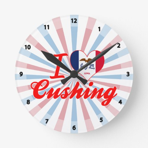 I Love Cushing, Iowa Round Wallclocks