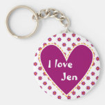 """""""I love"""" - Customize with your name Basic Round Button Keychain"""