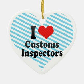 I Love Customs Inspectors Christmas Ornament