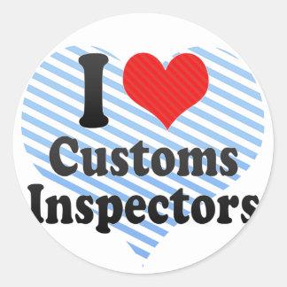 I Love Customs Inspectors Round Stickers