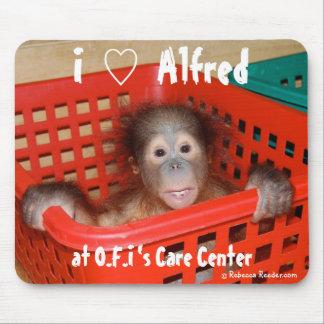 I Love Cute Baby Orangutan Alfred Mouse Pad