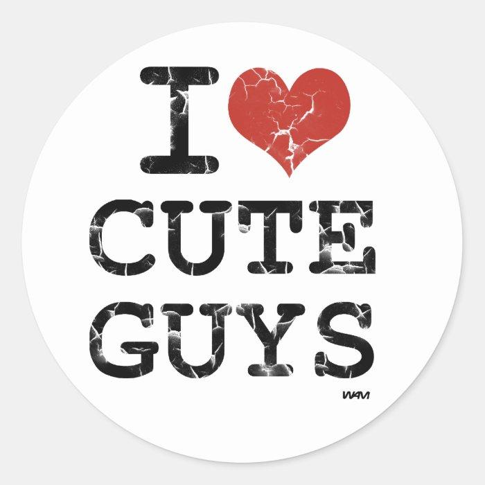 i love cute guys classic round sticker