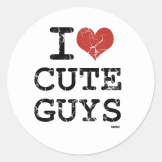 i love cute guys round sticker