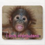 I Love Cutest Animals Orangutan Mouse Pad