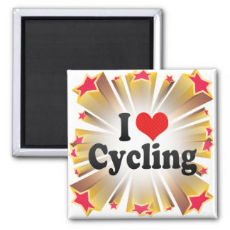 I Love Cycling 2 Inch Square Magnet