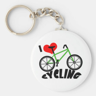 I Love Cycling Basic Round Button Keychain